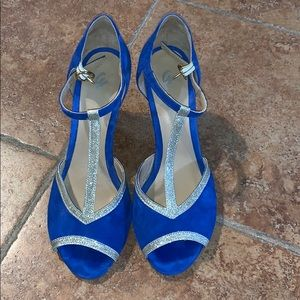 T-Strap Blue Pumps with Gold Glitter